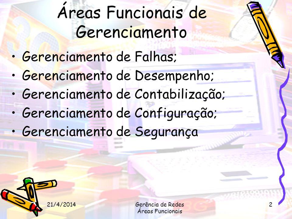 21/4/2014Gerência de Redes Áreas Funcionais 2 Áreas Funcionais de Gerenciamento Gerenciamento de Falhas; Gerenciamento de Desempenho; Gerenciamento de