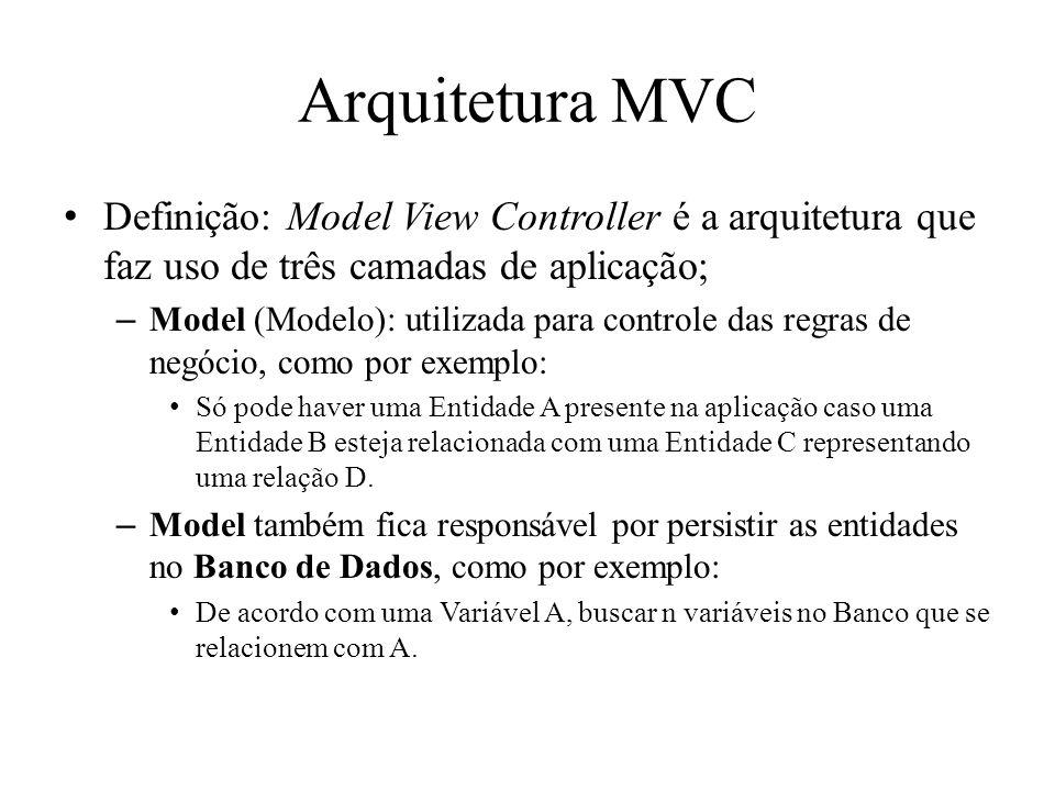 Arquitetura MVC Definição: Model View Controller é a arquitetura que faz uso de três camadas de aplicação; –Model (Modelo): utilizada para controle das regras de negócio, como por exemplo: Só pode haver uma Entidade A presente na aplicação caso uma Entidade B esteja relacionada com uma Entidade C representando uma relação D.