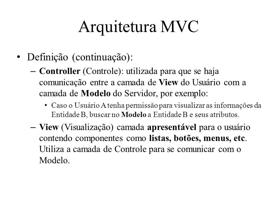 Arquitetura MVC Definição (continuação): –Controller (Controle): utilizada para que se haja comunicação entre a camada de View do Usuário com a camada de Modelo do Servidor, por exemplo: Caso o Usuário A tenha permissão para visualizar as informações da Entidade B, buscar no Modelo a Entidade B e seus atributos.