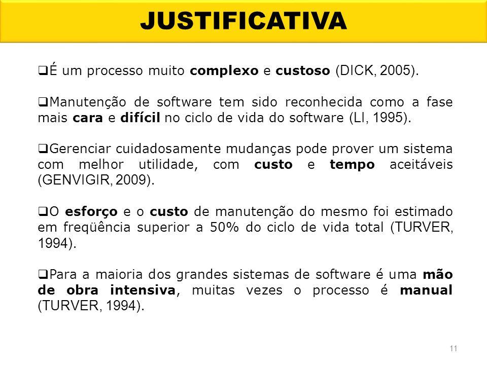 JUSTIFICATIVA É um processo muito complexo e custoso (DICK, 2005). Manutenção de software tem sido reconhecida como a fase mais cara e difícil no cicl