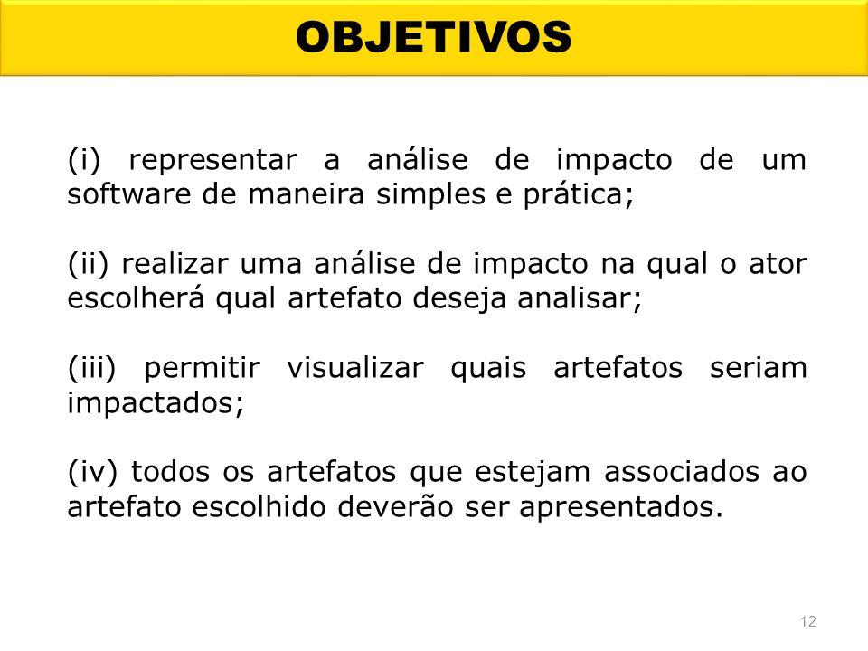 OBJETIVOS (i) representar a análise de impacto de um software de maneira simples e prática; (ii) realizar uma análise de impacto na qual o ator escolh