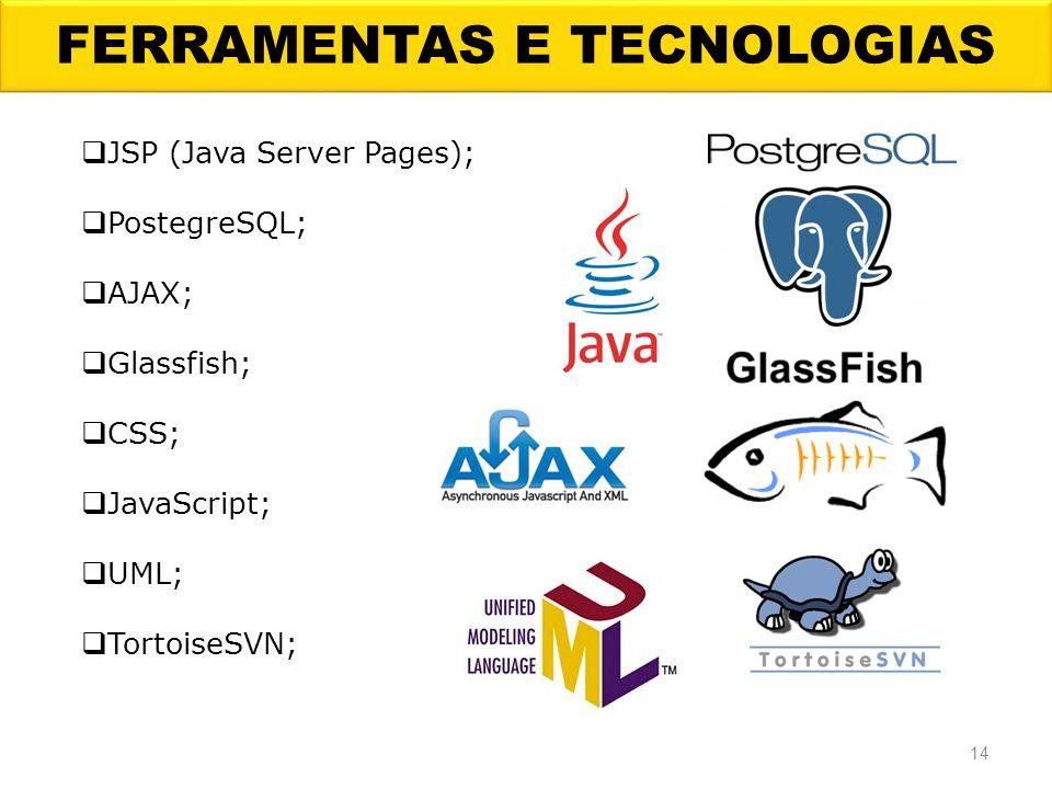 FERRAMENTAS E TECNOLOGIAS 14 JSP (Java Server Pages); PostegreSQL; AJAX; Glassfish; CSS; JavaScript; UML; TortoiseSVN;