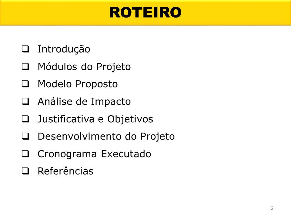 ROTEIRO Introdução Módulos do Projeto Modelo Proposto Análise de Impacto Justificativa e Objetivos Desenvolvimento do Projeto Cronograma Executado Ref