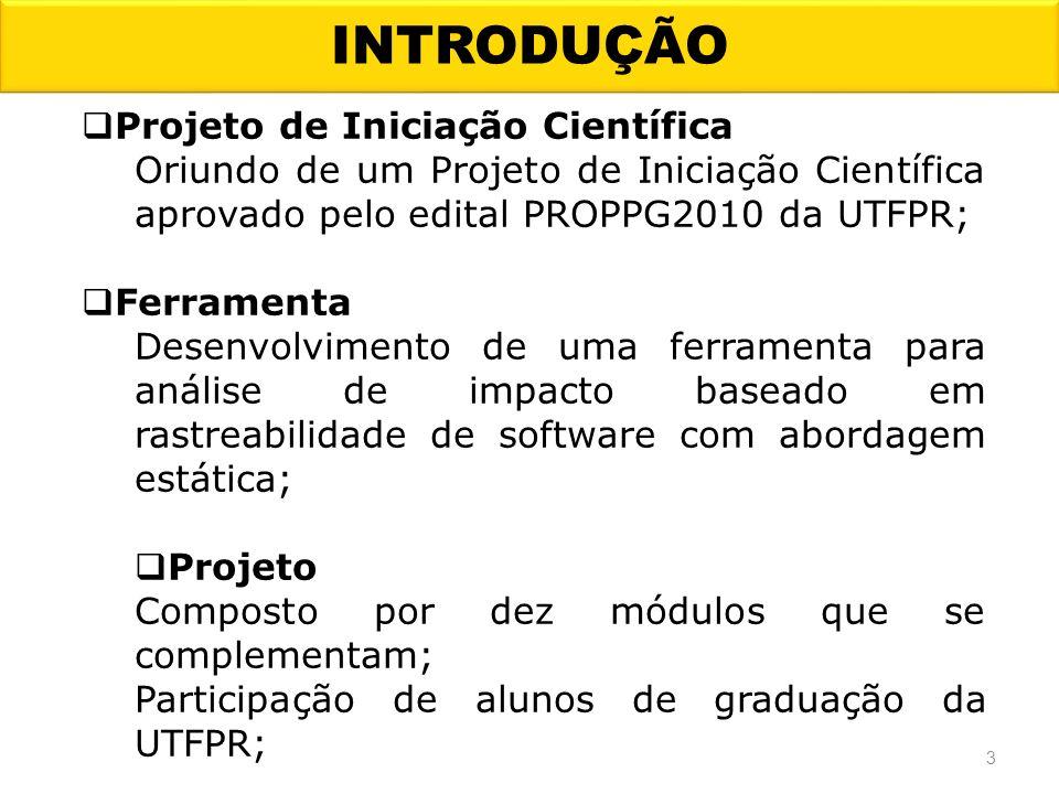 INTRODUÇÃO 3 Projeto de Iniciação Científica Oriundo de um Projeto de Iniciação Científica aprovado pelo edital PROPPG2010 da UTFPR; Ferramenta Desenv