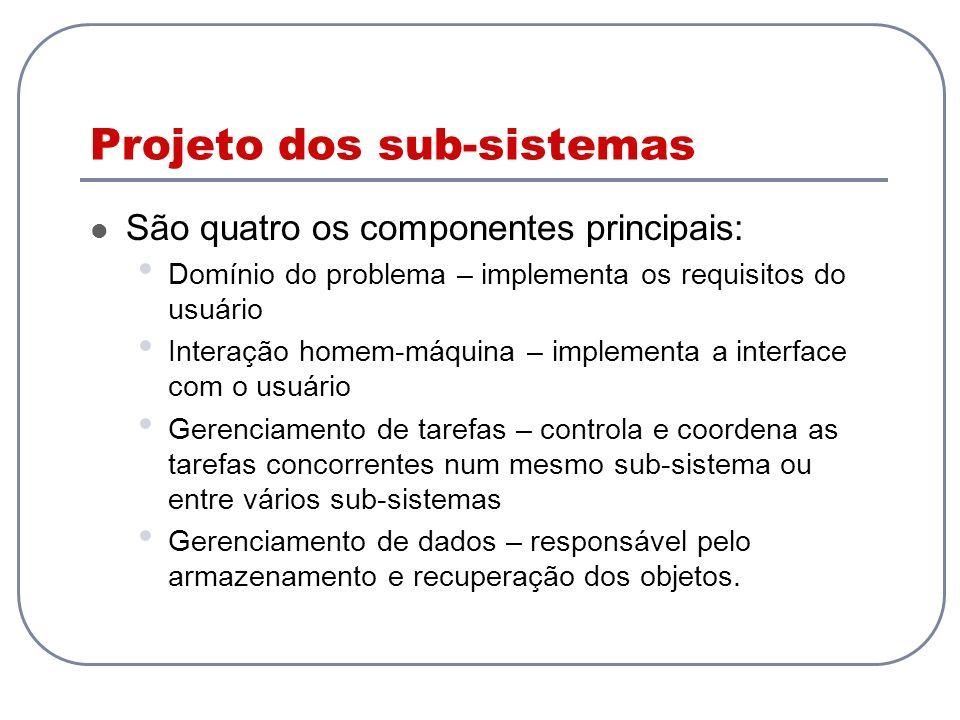 Projeto dos sub-sistemas São quatro os componentes principais: Domínio do problema – implementa os requisitos do usuário Interação homem-máquina – imp