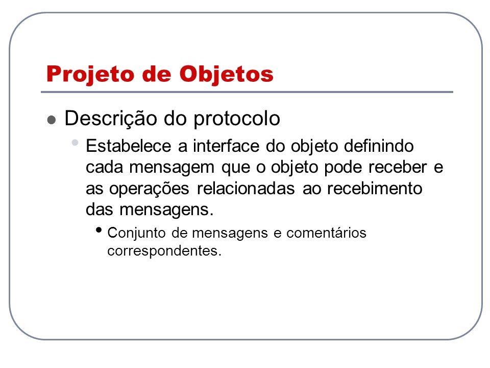 Projeto de Objetos Descrição do protocolo Estabelece a interface do objeto definindo cada mensagem que o objeto pode receber e as operações relacionad