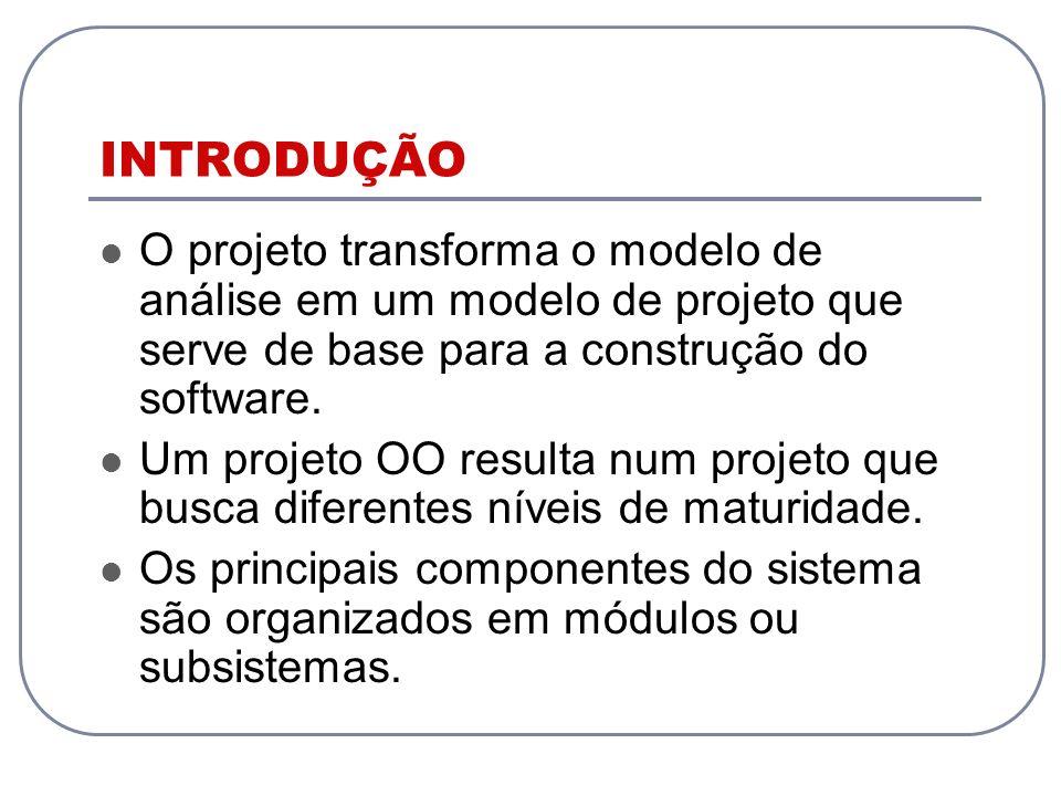 INTRODUÇÃO O projeto transforma o modelo de análise em um modelo de projeto que serve de base para a construção do software. Um projeto OO resulta num