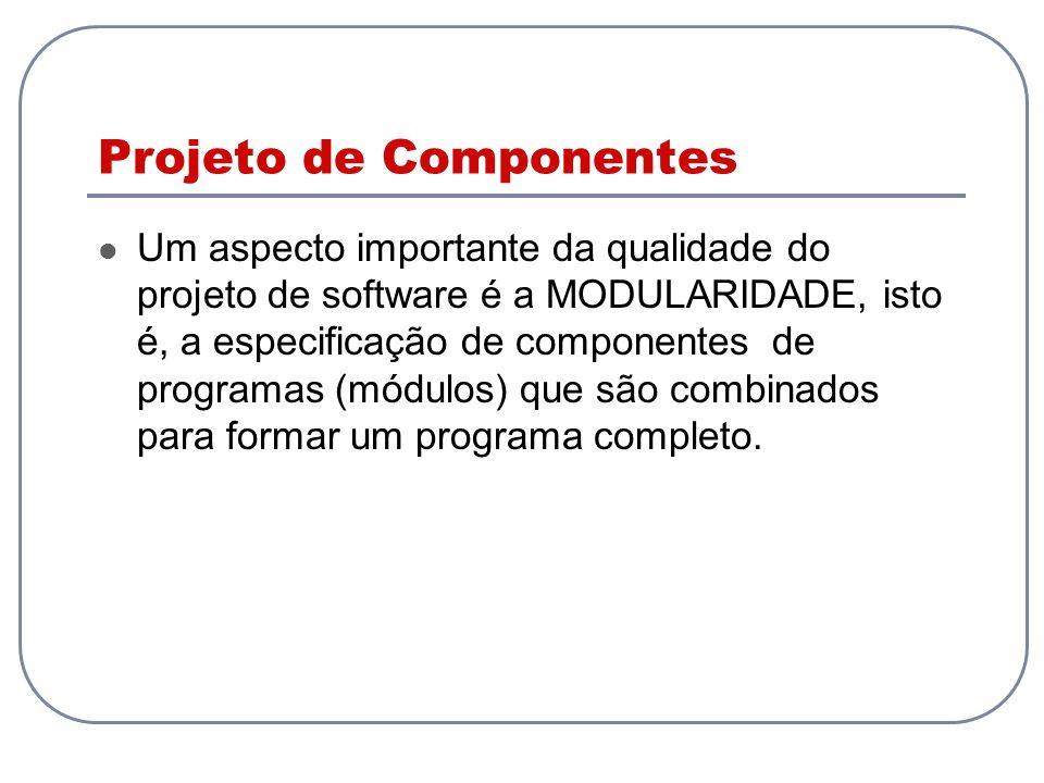 Projeto de Componentes Um aspecto importante da qualidade do projeto de software é a MODULARIDADE, isto é, a especificação de componentes de programas