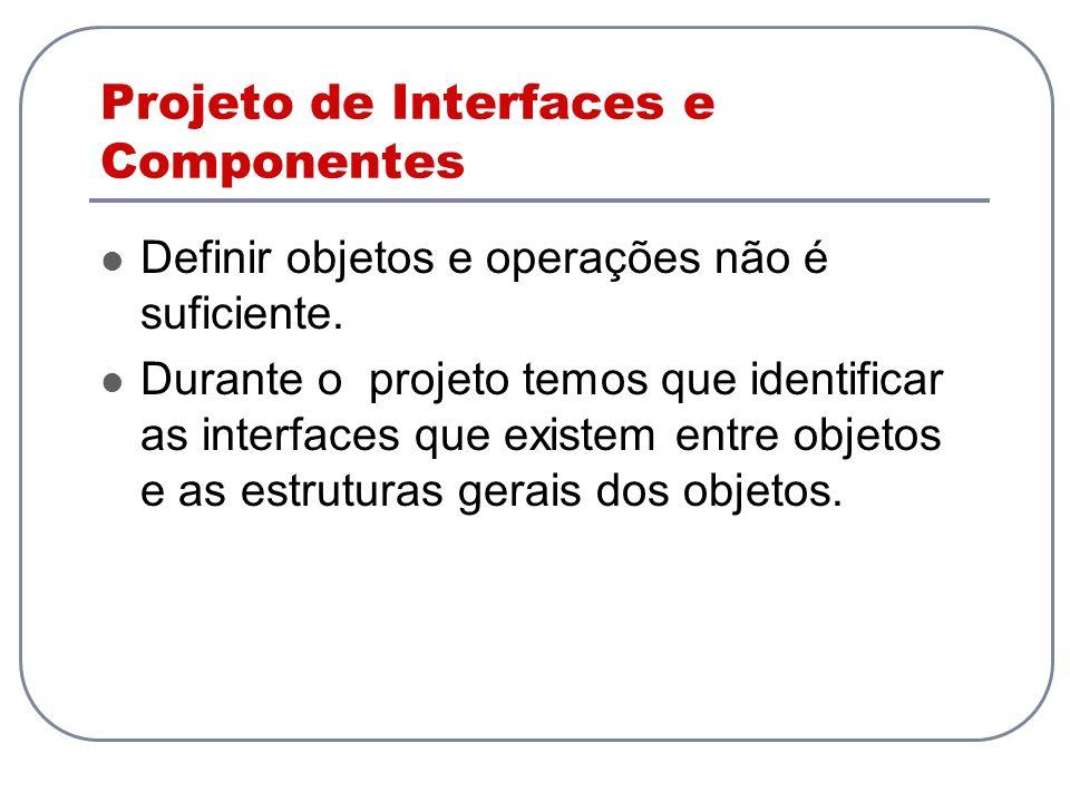 Projeto de Interfaces e Componentes Definir objetos e operações não é suficiente. Durante o projeto temos que identificar as interfaces que existem en