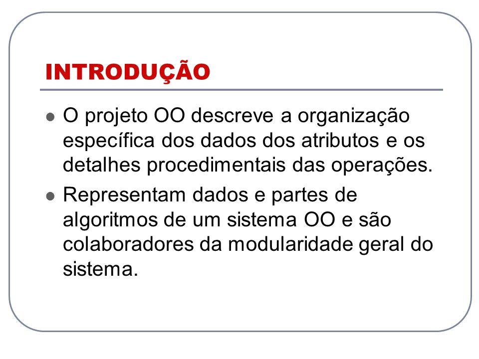 INTRODUÇÃO O projeto OO descreve a organização específica dos dados dos atributos e os detalhes procedimentais das operações. Representam dados e part