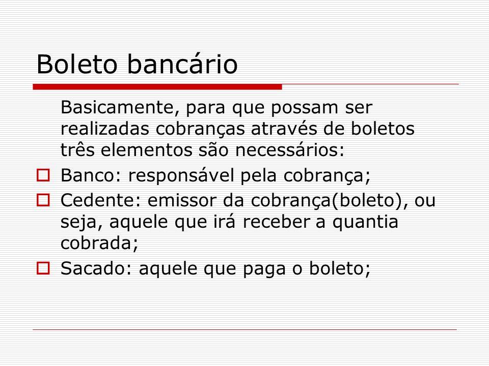 Boleto bancário Basicamente, para que possam ser realizadas cobranças através de boletos três elementos são necessários: Banco: responsável pela cobra