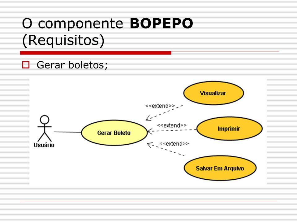O componente BOPEPO (Requisitos) Gerar boletos;