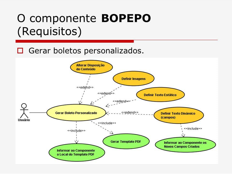 O componente BOPEPO (Requisitos) Gerar boletos personalizados.