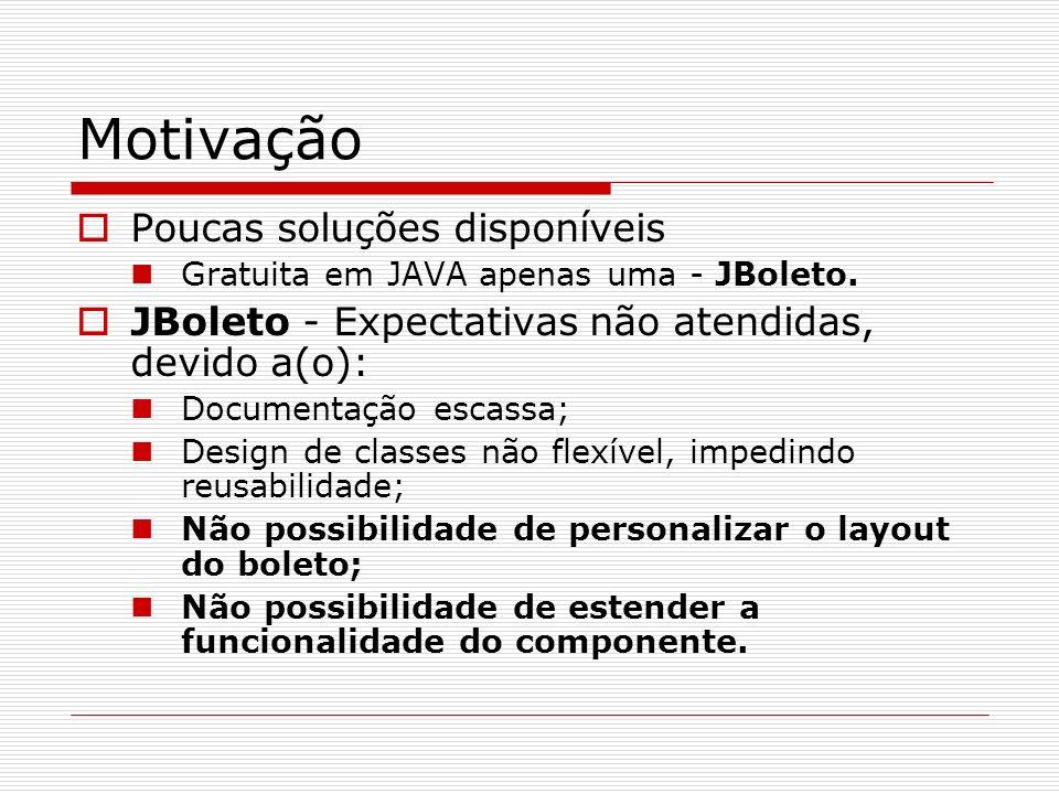 Motivação Poucas soluções disponíveis Gratuita em JAVA apenas uma - JBoleto. JBoleto - Expectativas não atendidas, devido a(o): Documentação escassa;