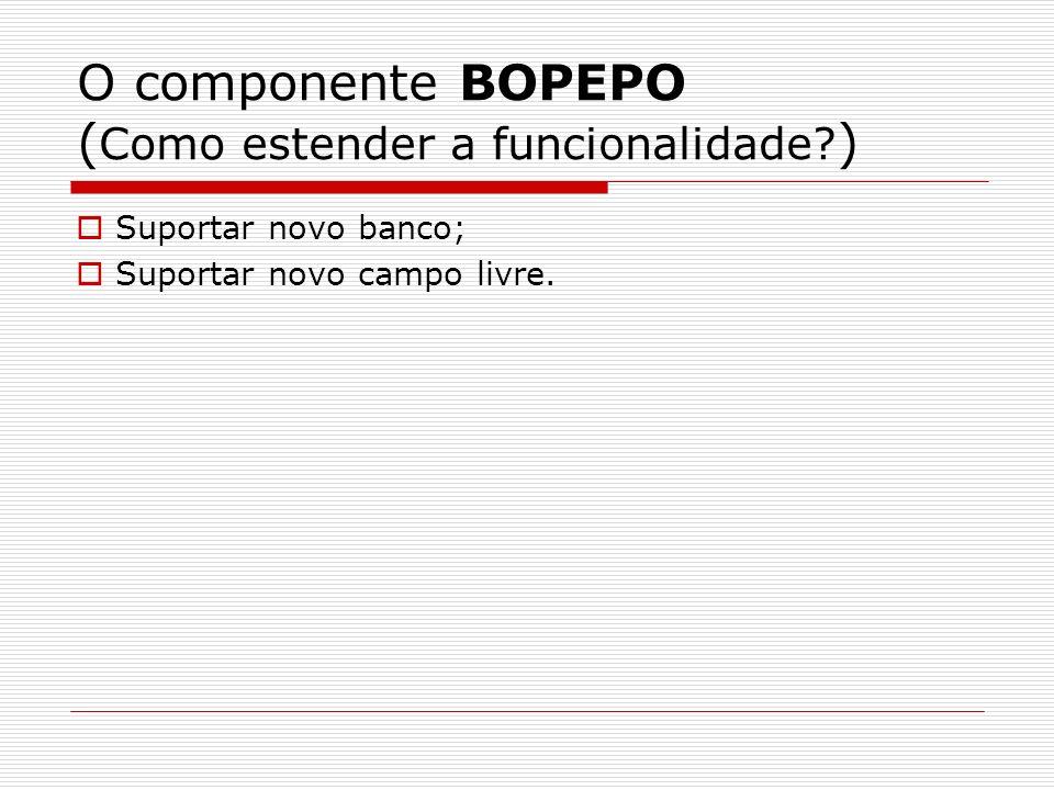 O componente BOPEPO ( Como estender a funcionalidade? ) Suportar novo banco; Suportar novo campo livre.