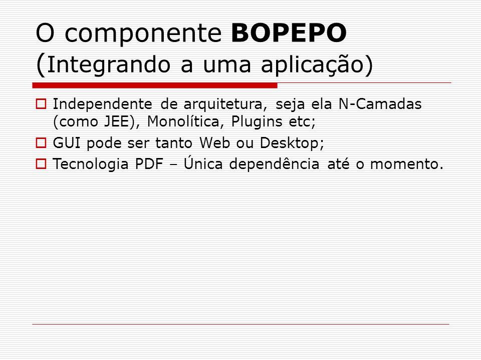 O componente BOPEPO ( Integrando a uma aplicação) Independente de arquitetura, seja ela N-Camadas (como JEE), Monolítica, Plugins etc; GUI pode ser ta