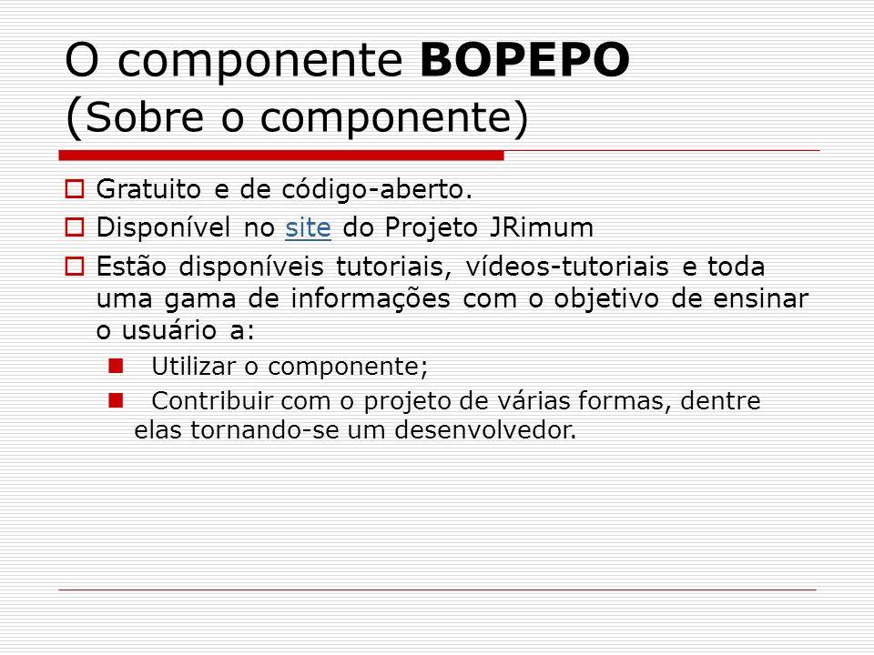 O componente BOPEPO ( Sobre o componente) Gratuito e de código-aberto. Disponível no site do Projeto JRimumsite Estão disponíveis tutoriais, vídeos-tu