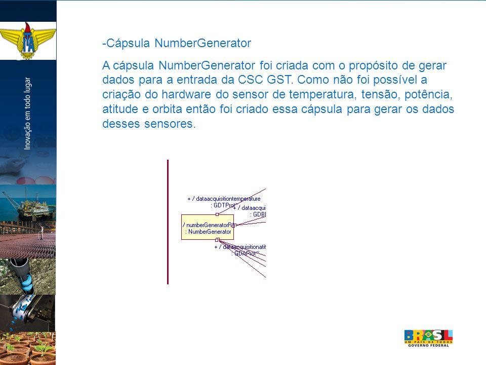 -Cápsula NumberGenerator A cápsula NumberGenerator foi criada com o propósito de gerar dados para a entrada da CSC GST. Como não foi possível a criaçã