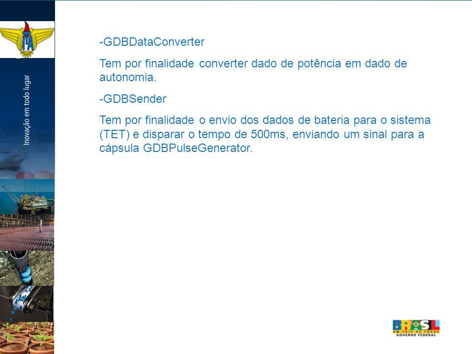 -GDBDataConverter Tem por finalidade converter dado de potência em dado de autonomia. -GDBSender Tem por finalidade o envio dos dados de bateria para
