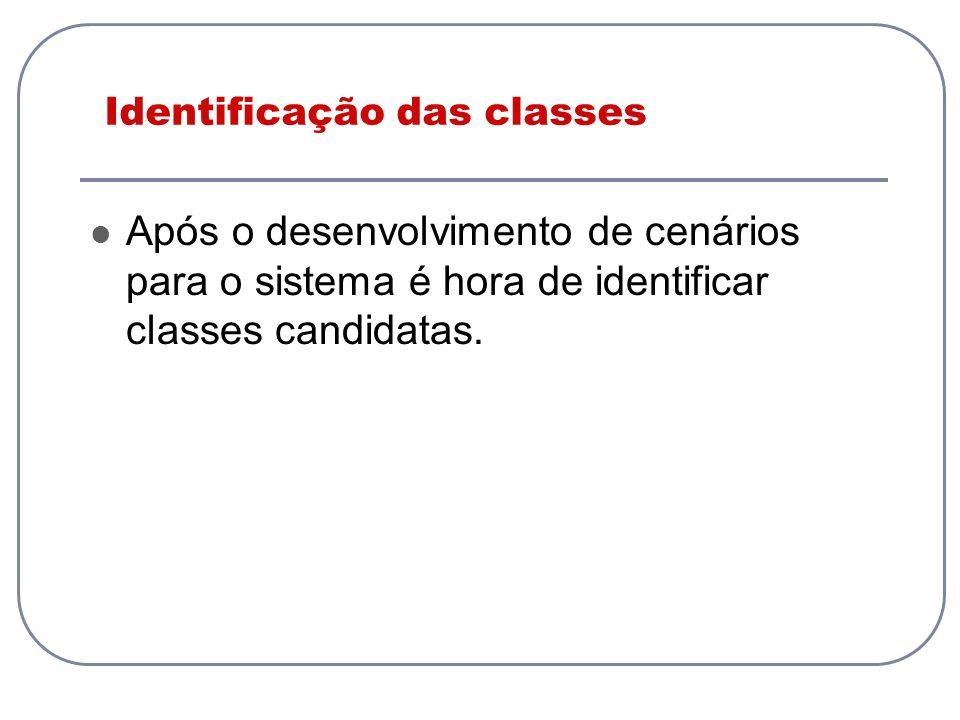 Identificação das classes Após o desenvolvimento de cenários para o sistema é hora de identificar classes candidatas.