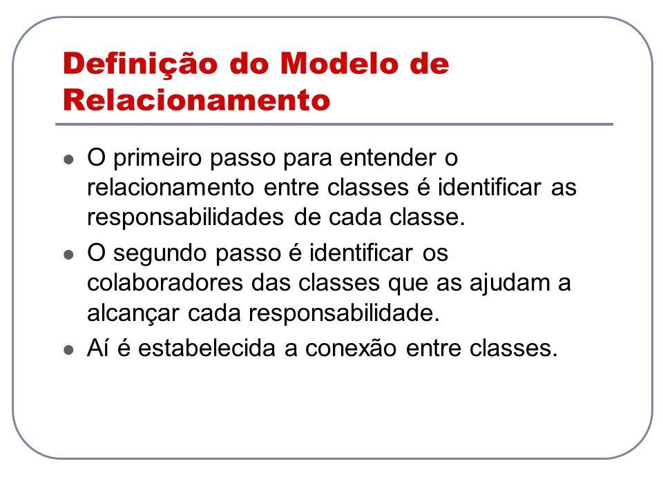 Definição do Modelo de Relacionamento O primeiro passo para entender o relacionamento entre classes é identificar as responsabilidades de cada classe.