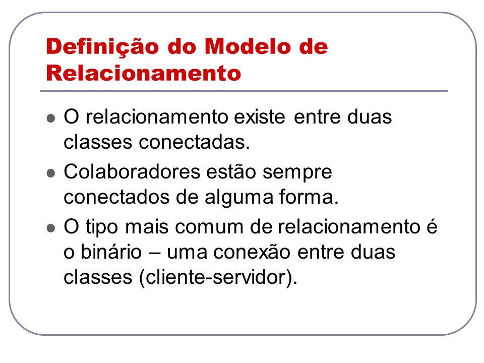 Definição do Modelo de Relacionamento O relacionamento existe entre duas classes conectadas. Colaboradores estão sempre conectados de alguma forma. O