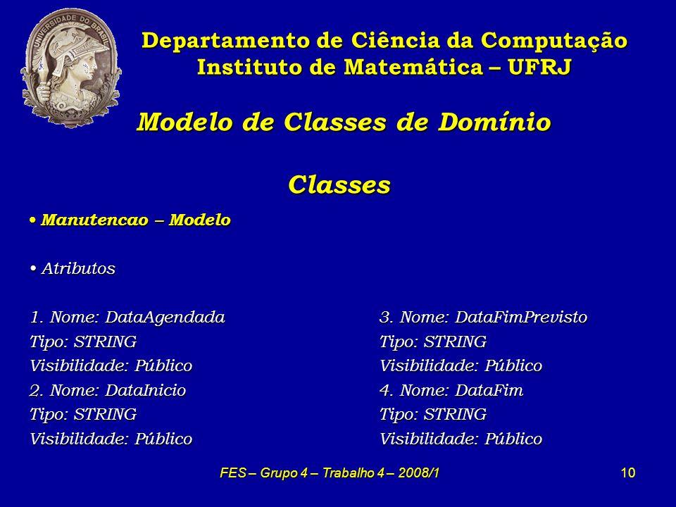 10 Modelo de Classes de Domínio Classes Modelo de Classes de Domínio Classes Departamento de Ciência da Computação Instituto de Matemática – UFRJ FES