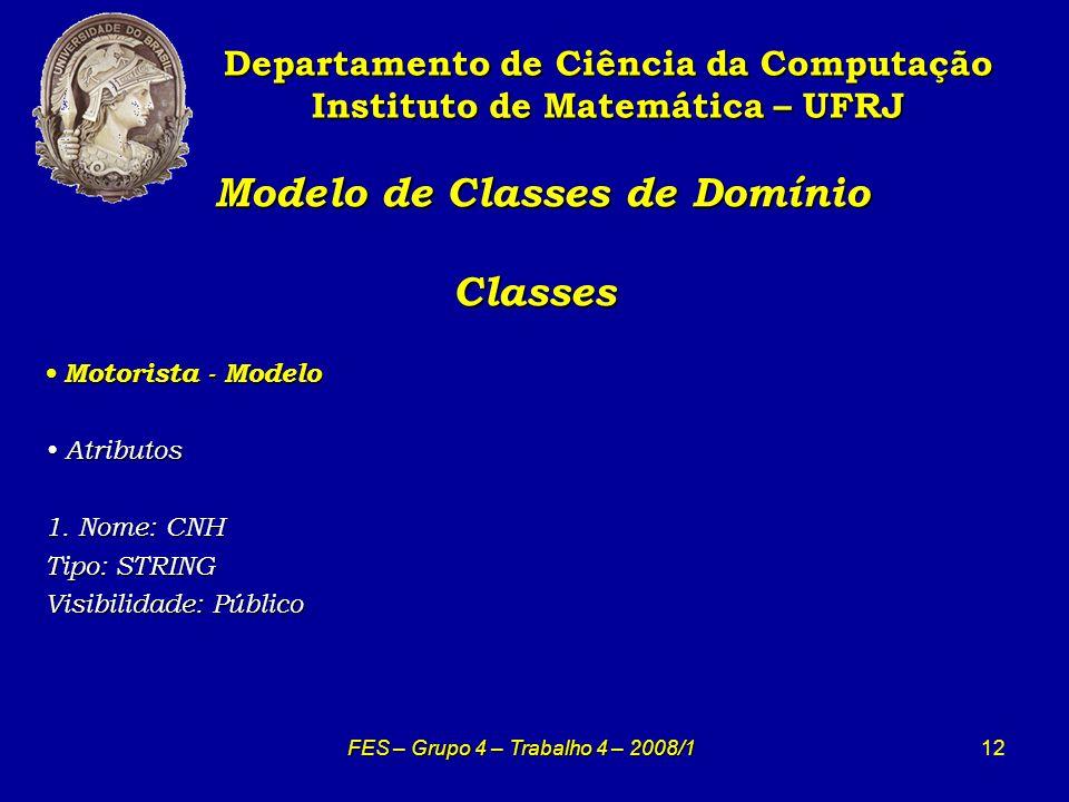 12 Modelo de Classes de Domínio Classes Modelo de Classes de Domínio Classes Departamento de Ciência da Computação Instituto de Matemática – UFRJ FES