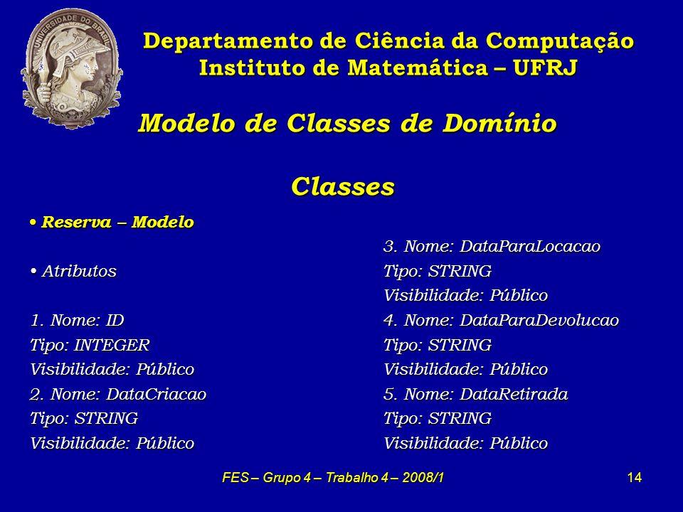 14 Modelo de Classes de Domínio Classes Modelo de Classes de Domínio Classes Departamento de Ciência da Computação Instituto de Matemática – UFRJ FES