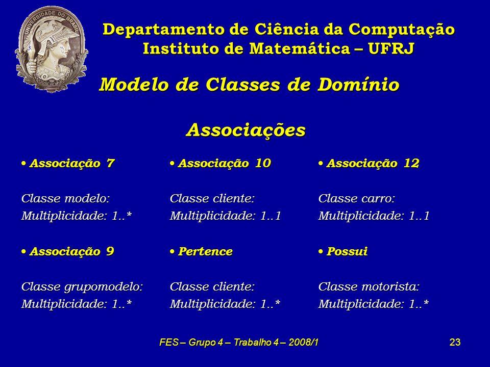 23 Modelo de Classes de Domínio Associações Modelo de Classes de Domínio Associações Departamento de Ciência da Computação Instituto de Matemática – U