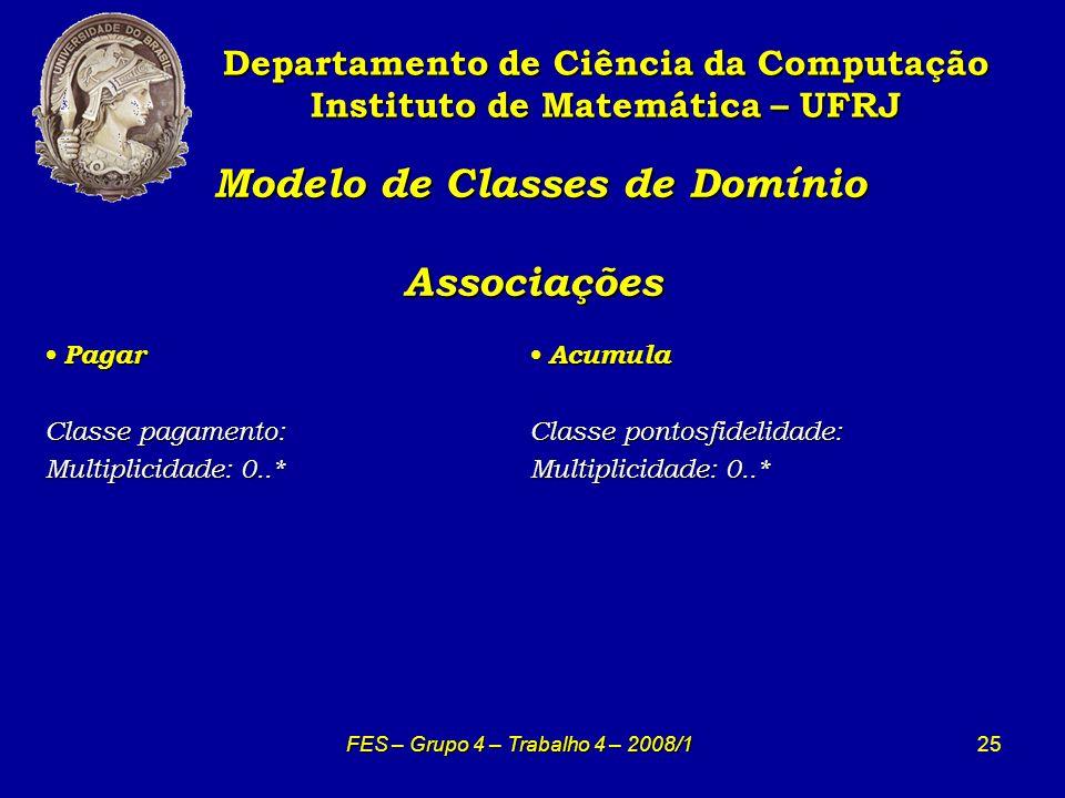 25 Modelo de Classes de Domínio Associações Modelo de Classes de Domínio Associações Departamento de Ciência da Computação Instituto de Matemática – U