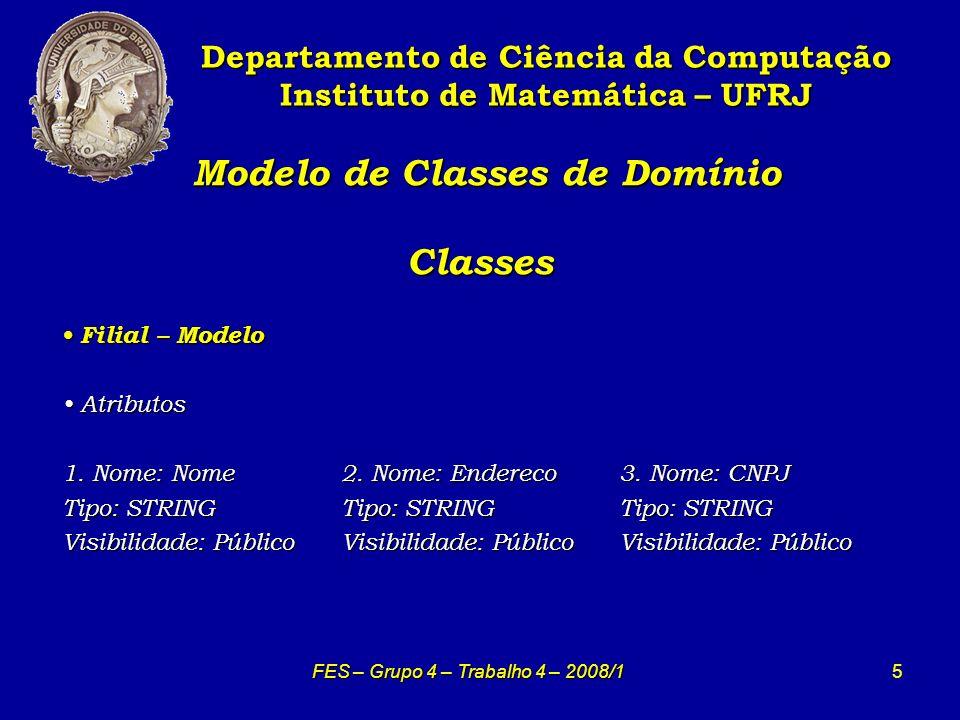 16 Modelo de Classes de Domínio Classes Modelo de Classes de Domínio Classes Departamento de Ciência da Computação Instituto de Matemática – UFRJ FES – Grupo 4 – Trabalho 4 – 2008/1 Listanegra - Modelo Listanegra - Modelo Atributos Atributos 1.