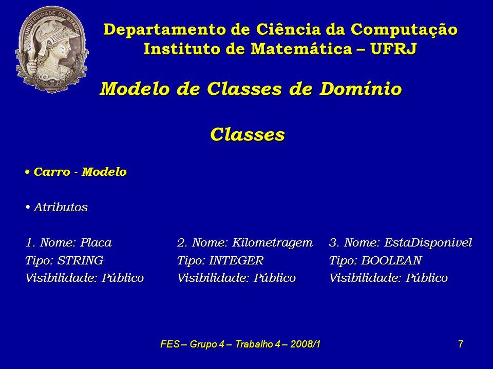 8 Modelo de Classes de Domínio Classes Modelo de Classes de Domínio Classes Departamento de Ciência da Computação Instituto de Matemática – UFRJ FES – Grupo 4 – Trabalho 4 – 2008/1 Propriedade - Modelo Propriedade - Modelo Atributos Atributos 1.