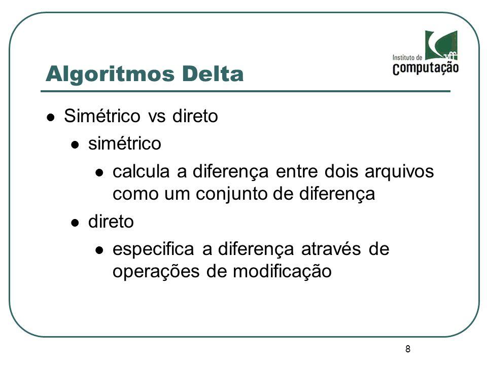 9 Algoritmos Delta Textual, sintático ou semântico textual diferença entre dois arquivos sintático diferença entre duas representações sintáticas semântico diferença semântica entre duas versões