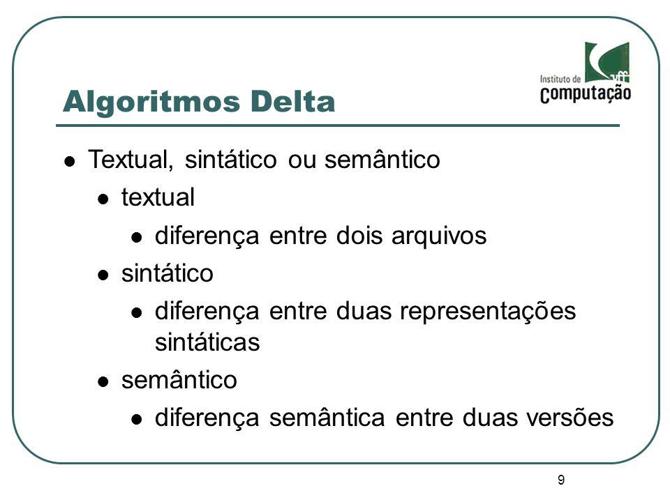 10 Algoritmos Delta Forward ou backward forward armazena a primeira versão e as demais são geradas através de deltas backward armazena a última versão e as anteriores são geradas através de deltas
