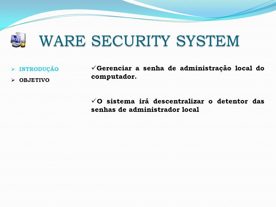 INTRODUÇÃO OBJETIVO Gerenciar a senha de administração local do computador. O sistema irá descentralizar o detentor das senhas de administrador local