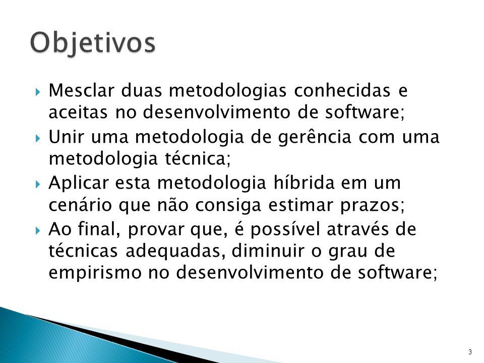 Mesclar duas metodologias conhecidas e aceitas no desenvolvimento de software; Unir uma metodologia de gerência com uma metodologia técnica; Aplicar e