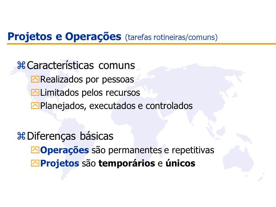 Projetos e Operações (tarefas rotineiras/comuns) zCaracterísticas comuns yRealizados por pessoas yLimitados pelos recursos yPlanejados, executados e c