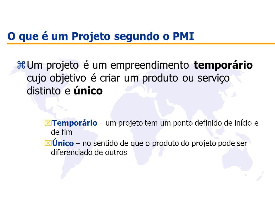O que é um Projeto segundo o PMI zUm projeto é um empreendimento temporário cujo objetivo é criar um produto ou serviço distinto e único xTemporário –