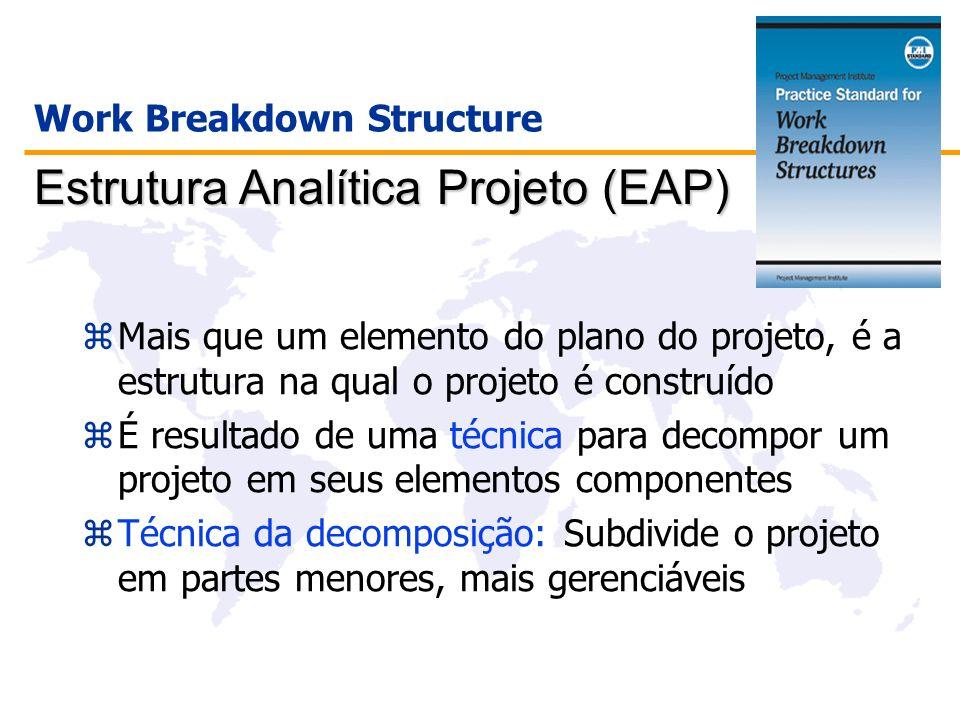 zMais que um elemento do plano do projeto, é a estrutura na qual o projeto é construído zÉ resultado de uma técnica para decompor um projeto em seus e