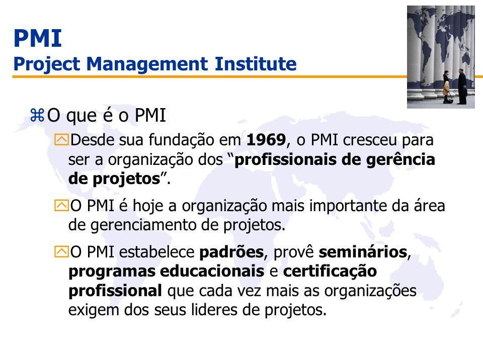 Certificação PMP ® zPrograma de certificação rigoroso zAvançar a profissão do Gerente de Projeto e reconhecer os profissionais qualificados na área de gerenciamento de projetos.