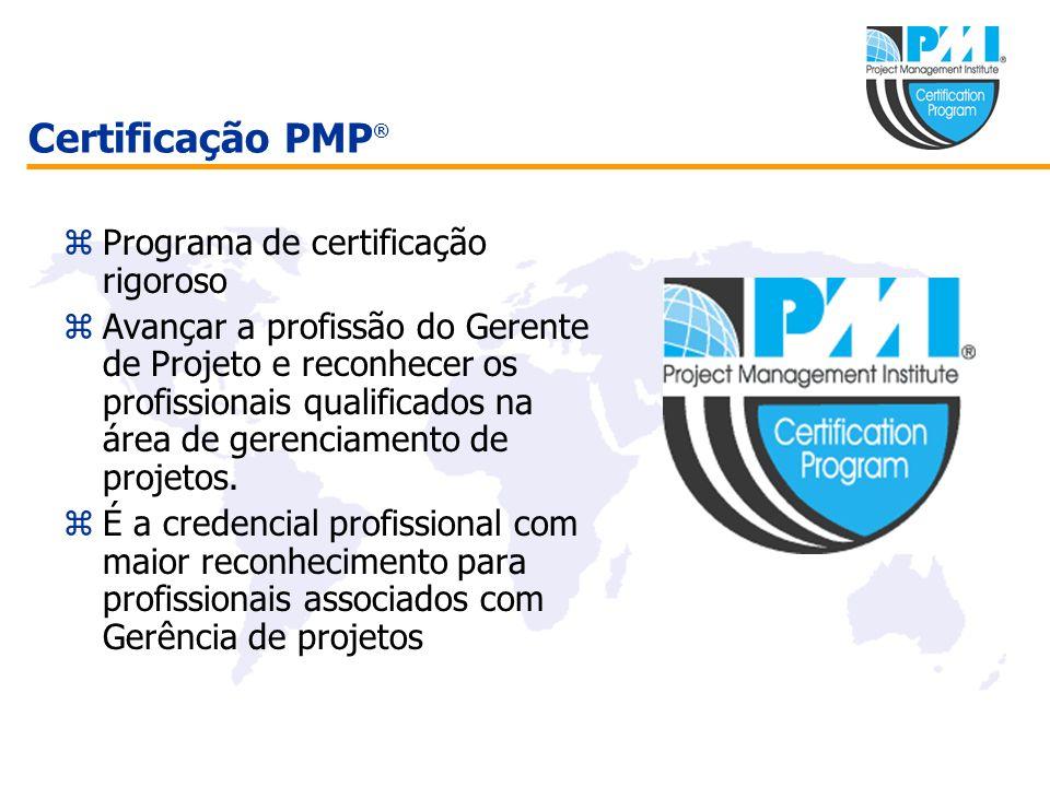 Certificação PMP ® zPrograma de certificação rigoroso zAvançar a profissão do Gerente de Projeto e reconhecer os profissionais qualificados na área de