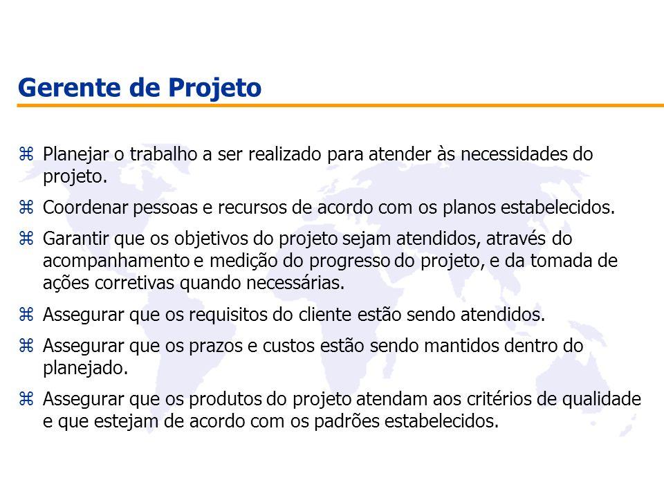 Gerente de Projeto zPlanejar o trabalho a ser realizado para atender às necessidades do projeto. zCoordenar pessoas e recursos de acordo com os planos