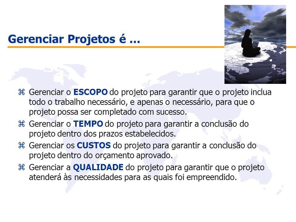 Gerenciar Projetos é... zGerenciar o ESCOPO do projeto para garantir que o projeto inclua todo o trabalho necessário, e apenas o necessário, para que