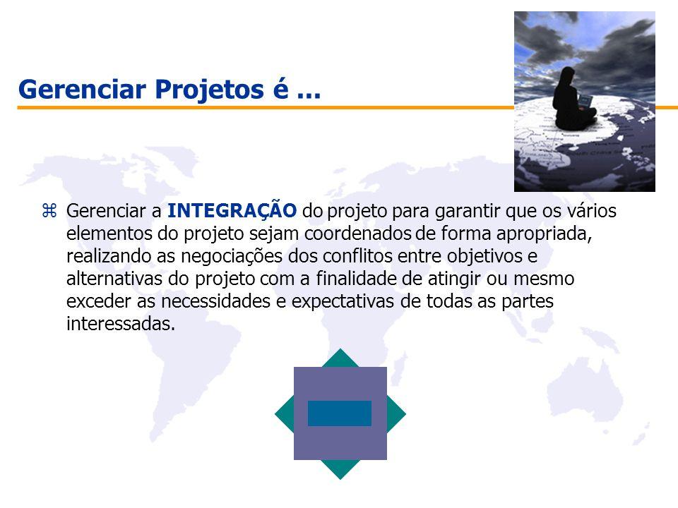 Gerenciar Projetos é... zGerenciar a INTEGRAÇÃO do projeto para garantir que os vários elementos do projeto sejam coordenados de forma apropriada, rea