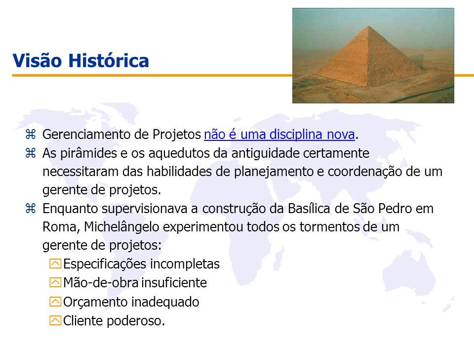 Visão Histórica zGerenciamento de Projetos não é uma disciplina nova. zAs pirâmides e os aquedutos da antiguidade certamente necessitaram das habilida