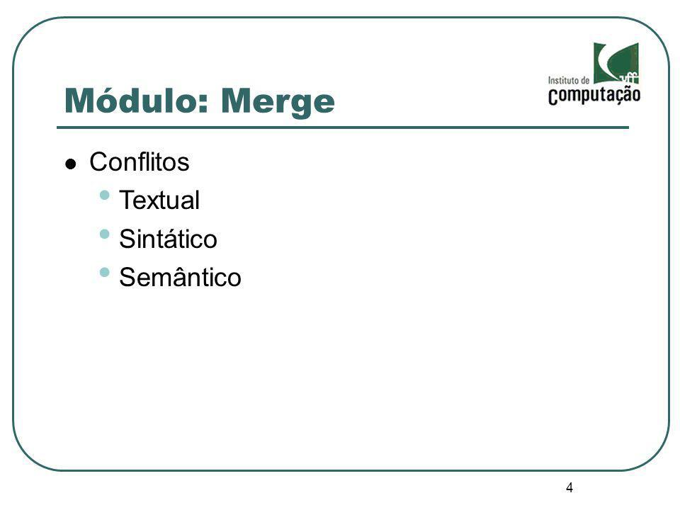5 Módulo: Merge Pesquisa Mens, T.(2002). A State-of-the-Art Survey on Software Merging.