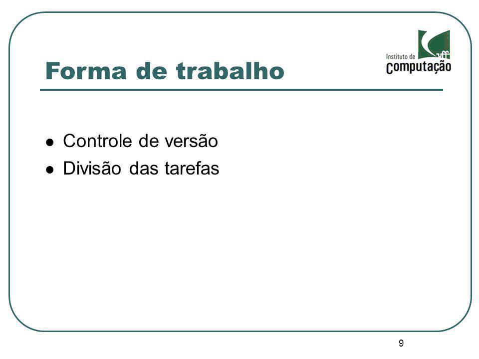 9 Forma de trabalho Controle de versão Divisão das tarefas