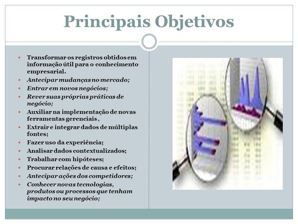 Principais Objetivos Transformar os registros obtidos em informação útil para o conhecimento empresarial. Antecipar mudanças no mercado; Entrar em nov