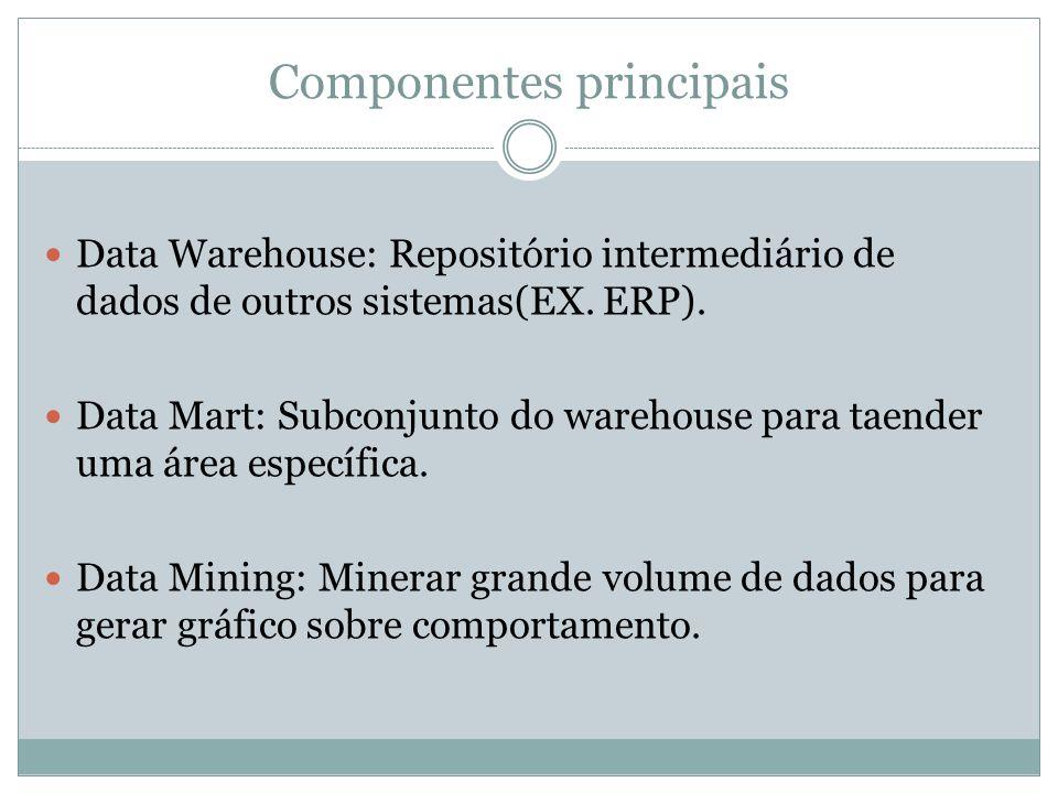 Componentes principais Data Warehouse: Repositório intermediário de dados de outros sistemas(EX. ERP). Data Mart: Subconjunto do warehouse para taende